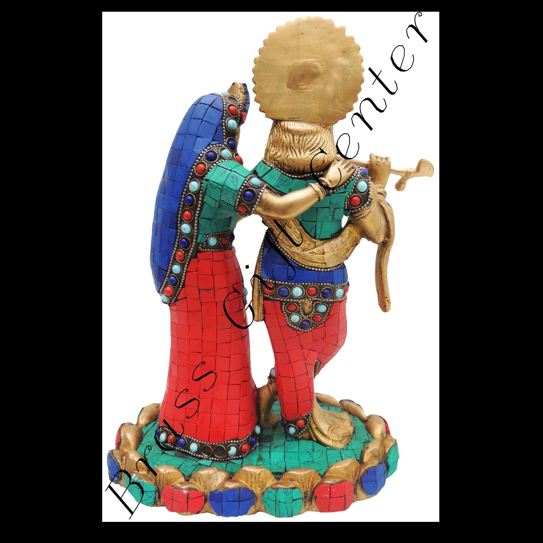 Brass Radha Krishna Staute Idol Murti Studded with Turquoise Coral stone work- 8511 Inch  BS518
