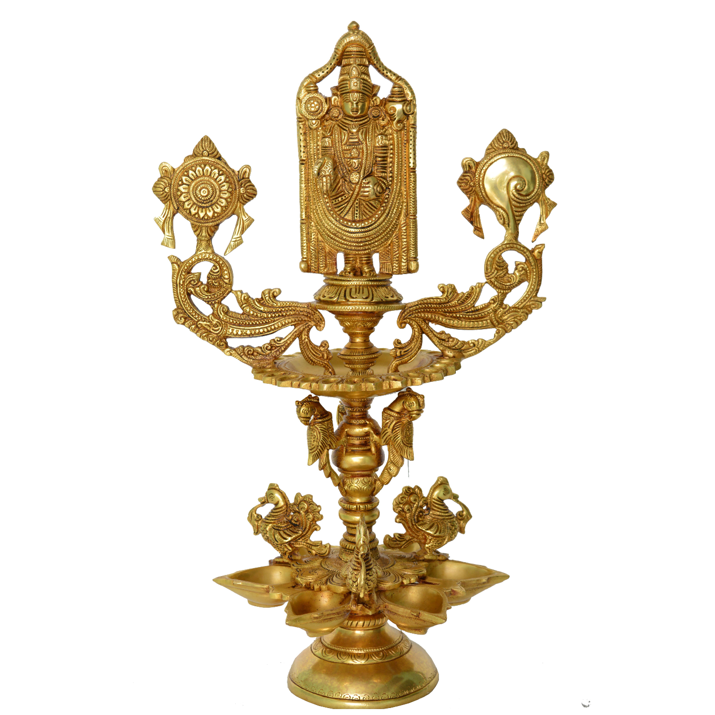 Tirupati Bala Ji Decorative Bird Figure Pooja Ghar Oil Lamp/Diya - 20 Inch (BS1205 A)