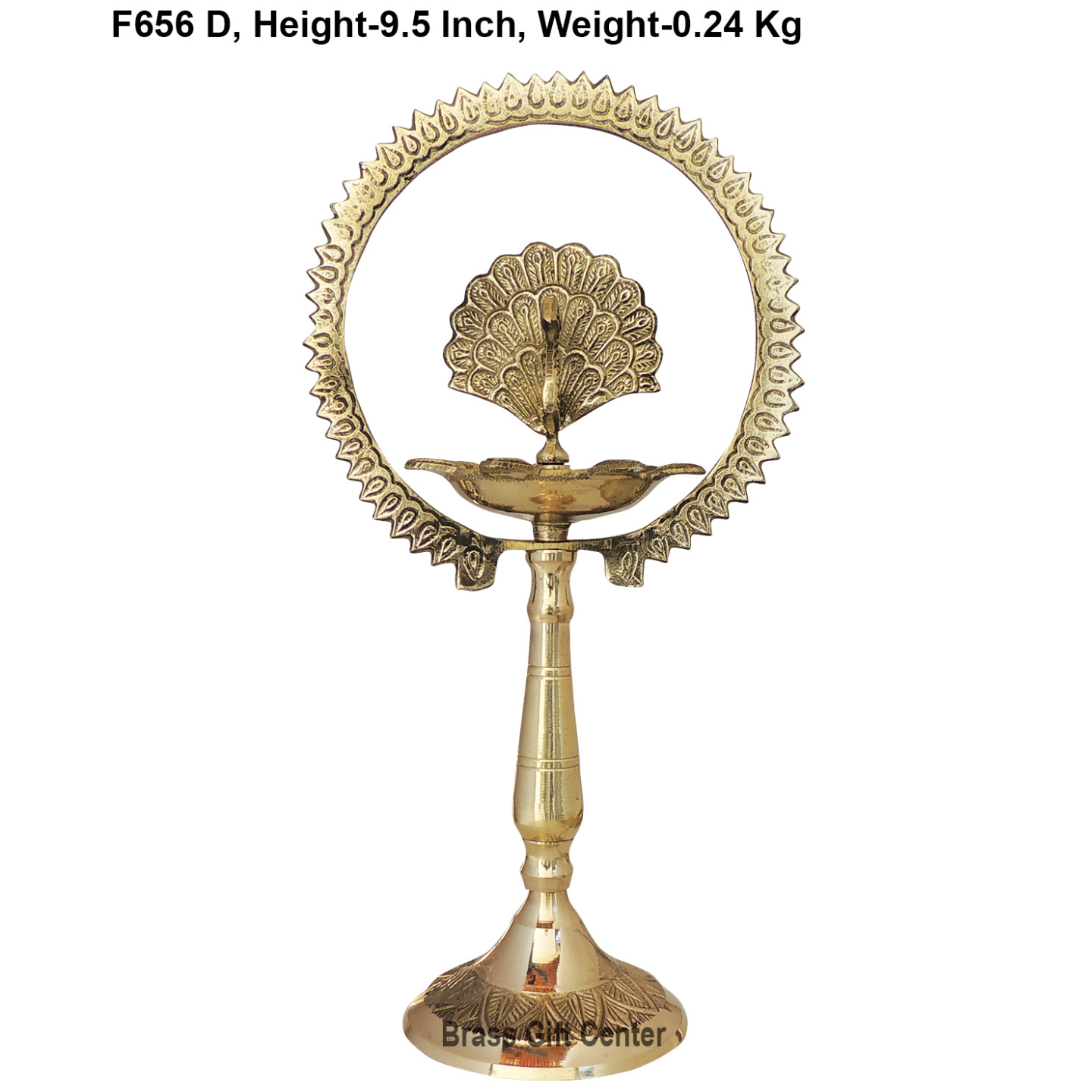 Brass Table Dcor Oil Lamp Deepak With Brass Finish - Height 9.5 Inch (F656 D)