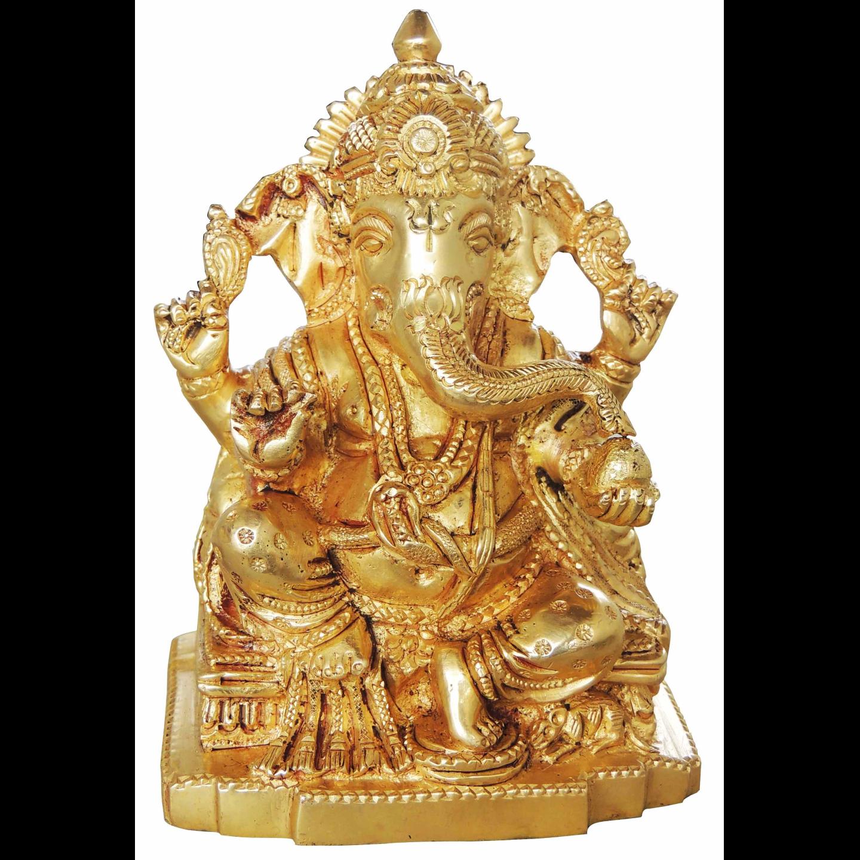 Brass Ganesh Statue Murti Idol in Super fine Finish - 3.8*2.7*5 inch 1.25 kg (BS221)