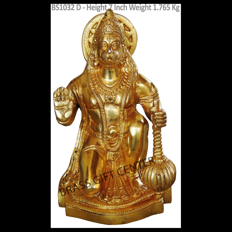 Brass Hanuman Idol Murti Statue 1.765 Kg - 7 Inch  BS1032 D