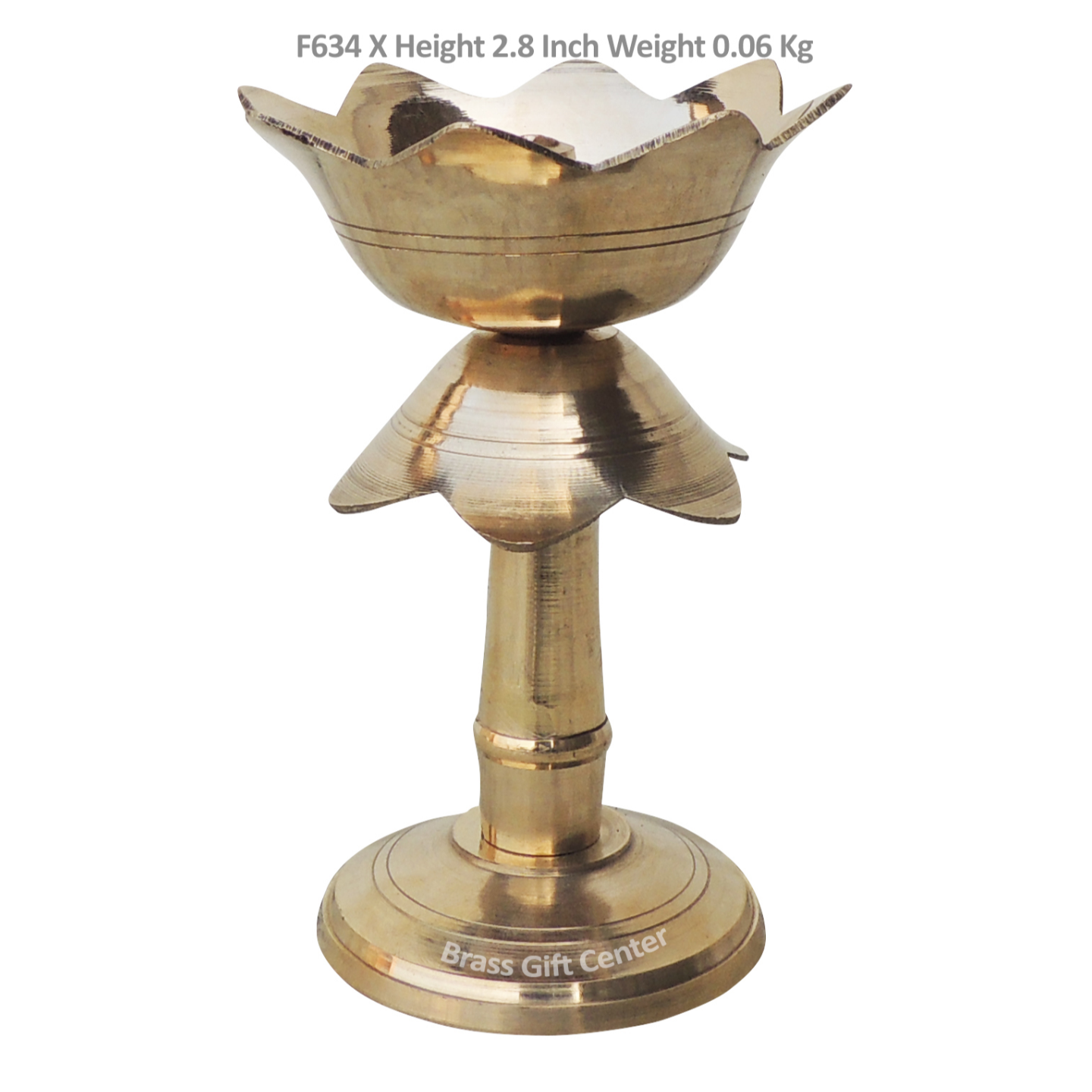 Brass Lotus Shape Deepak With Stand - 2.8 Inch F634 X