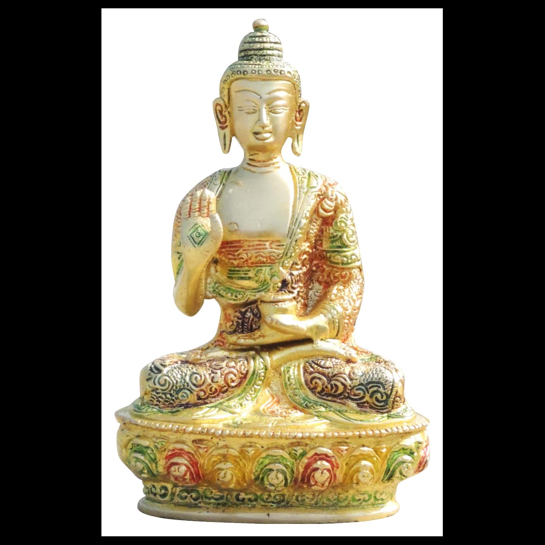 Brass Buddha Statue Murti Idol In Multicolour Lacquer Finish - 4.7x3x7.7 Inch  (BS660 Y)
