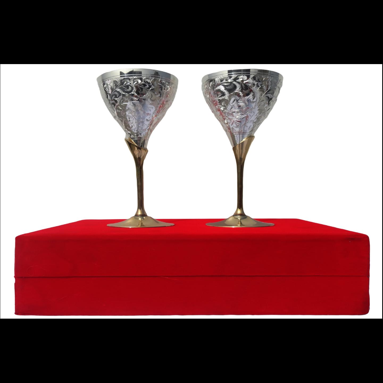 Brass Goblet Set Of 2 PCs In Red Velvet Box (B078)