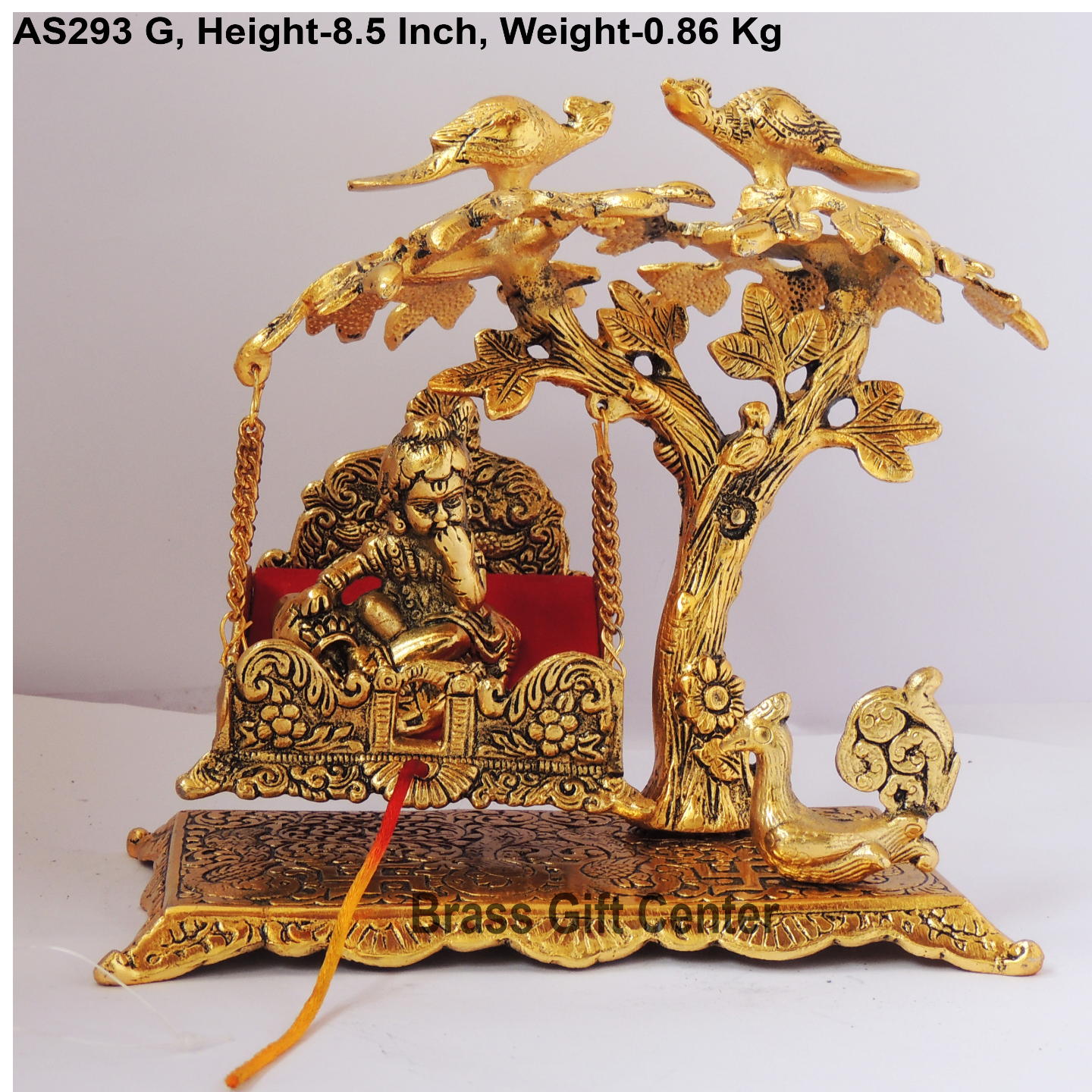 Tree Jhula with Ladu Gopal Statue Murti Idol In Gold Antique Finish - 8.5x5x8.5 Inch  AS293 G