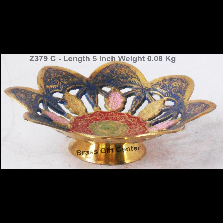 Brass Bowl Jali Multicolour - 5 Inch (Z379 C)