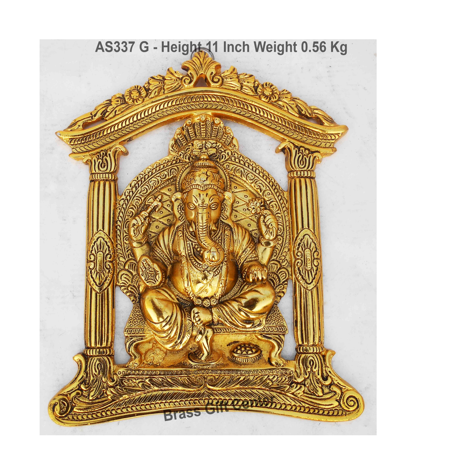 Frame Ganesh Statue Murti Idol In Gold Antique Finish - 9x11 Inch (AS337 G)