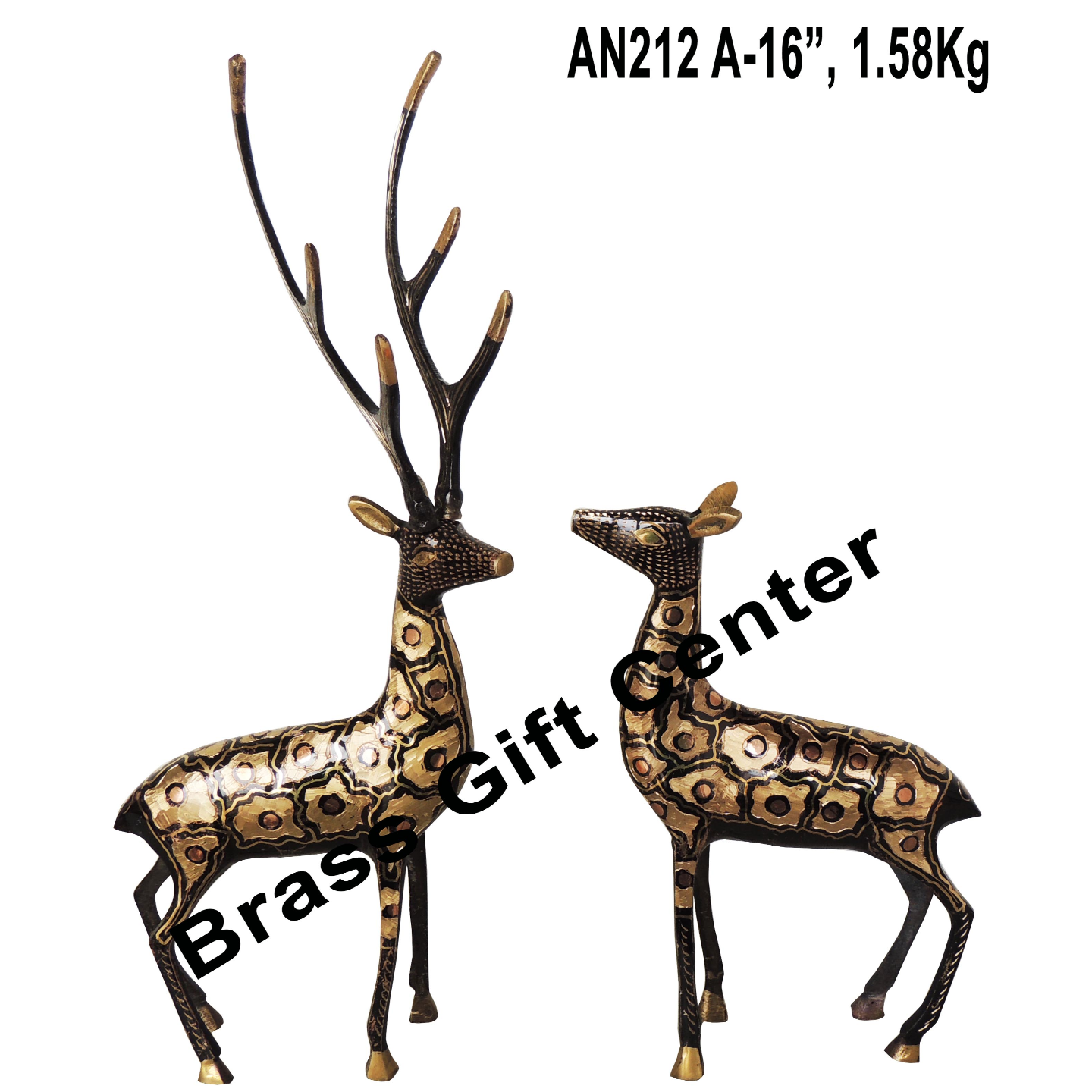 Brass Showpiece Deer Pair Statue With Black Finish, Height 16 Inch (AN212 A)