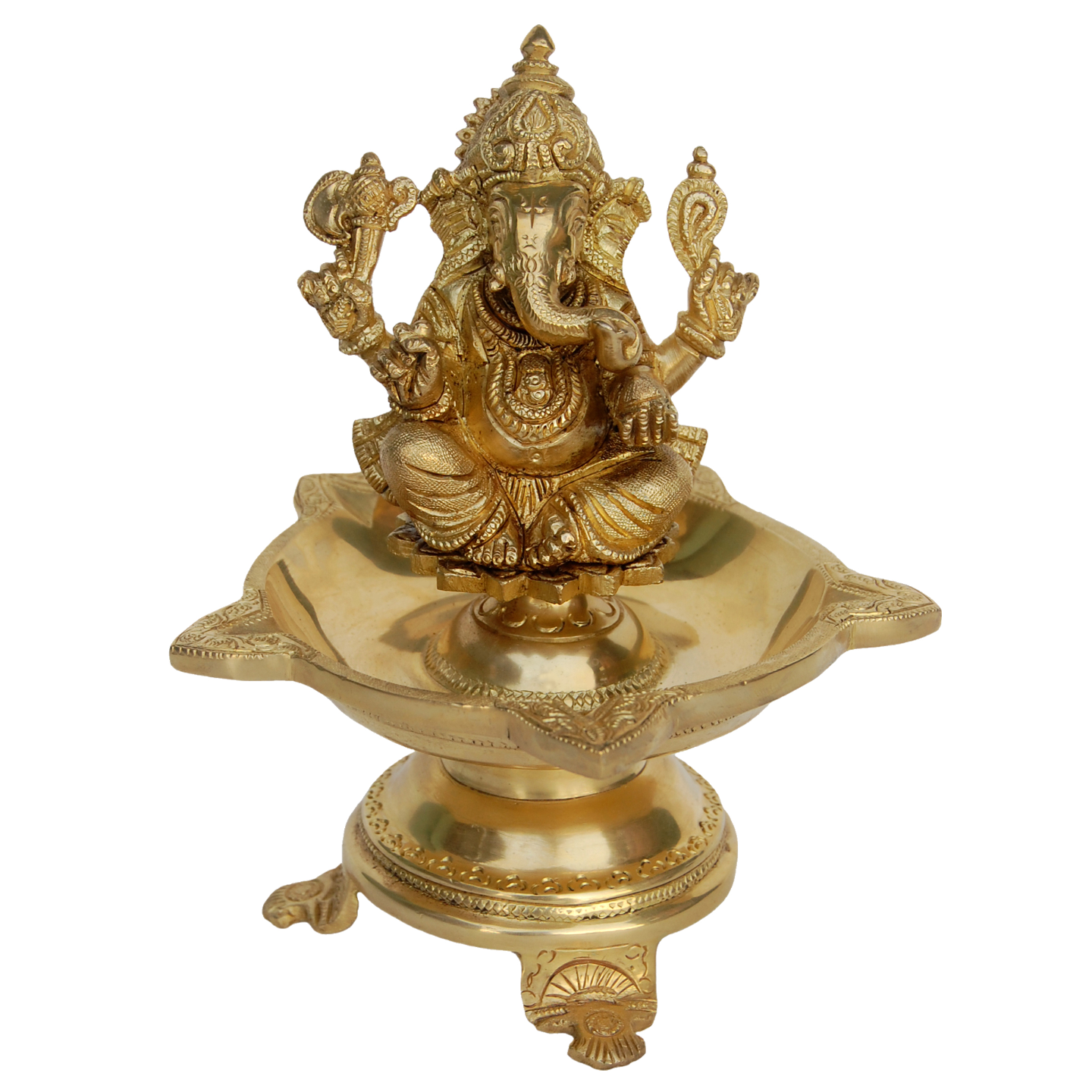 Brass Diya Oil Lamp of Lord Ganesha - 8 Inch BS1177 A