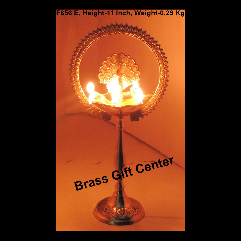Brass Table Decor Oil Lamp Deepak With Brass Finish - Height 11 Inch (F656 E)
