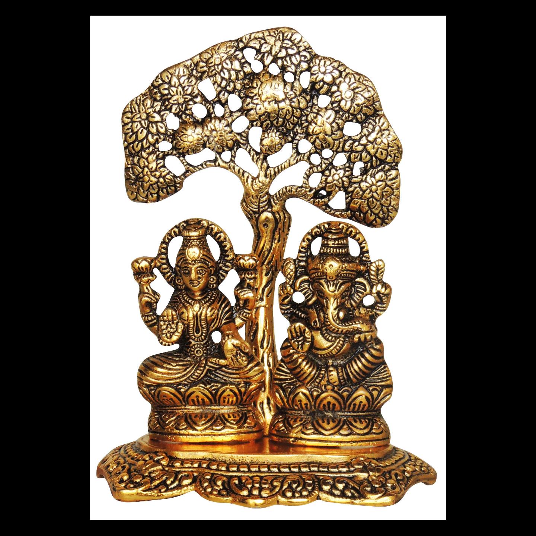 Aluminium Showpiece Laxmi Ganesh - 6.7 Inch (AS089 G)