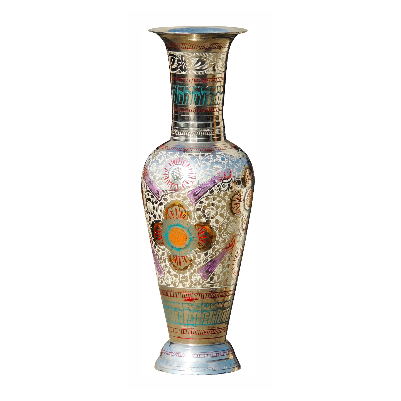 Brass Coloured Flower Vase with handwork - 4*4*11.5 Inch  (F286 B)