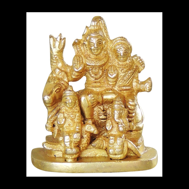 Brass Shiv Parivar Statue Murti idol 280 gm- 2.5 nch  (BS1045 C)