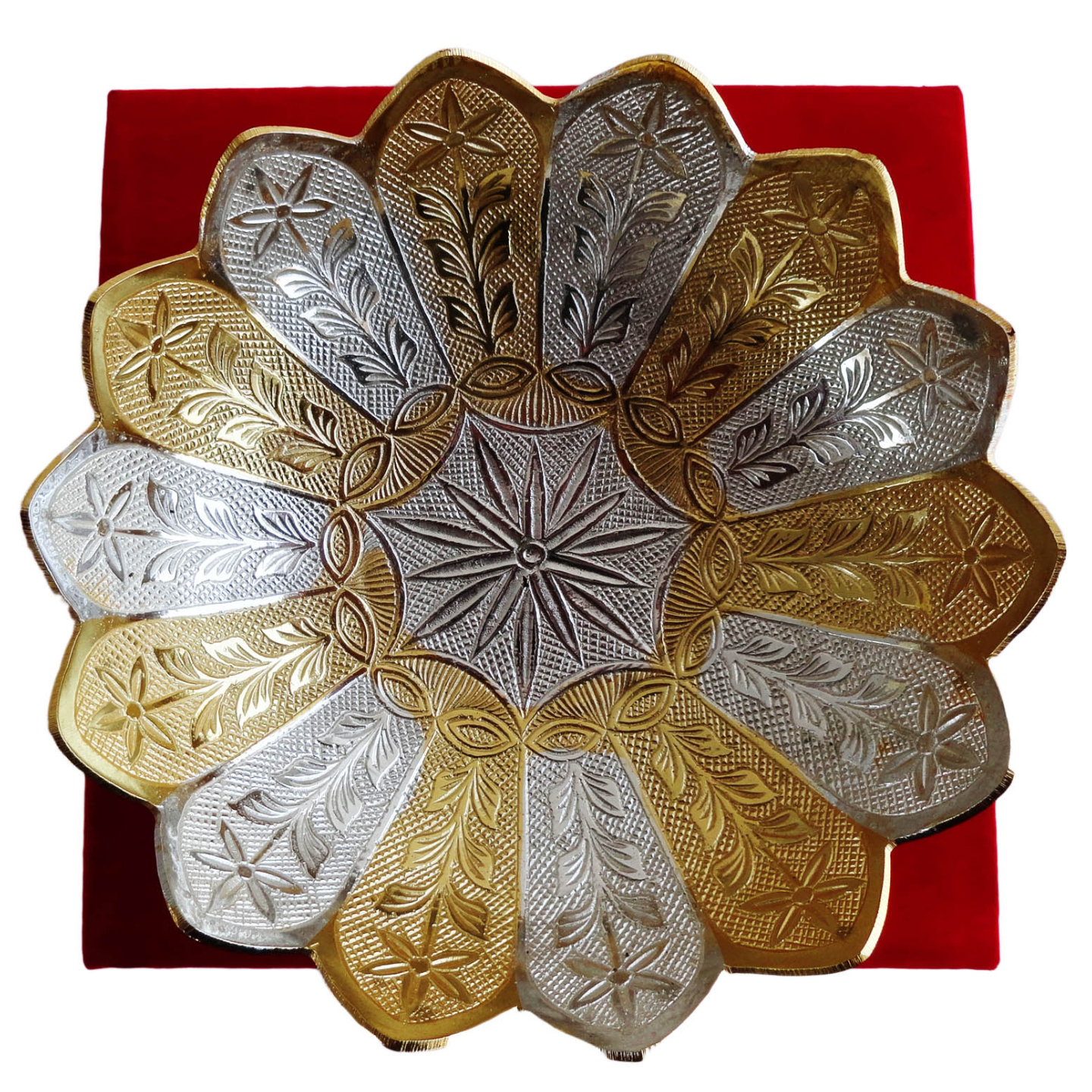 Brass Lotus Shape Bowl With Brass & Silver Finish - 7 Inch (B059)