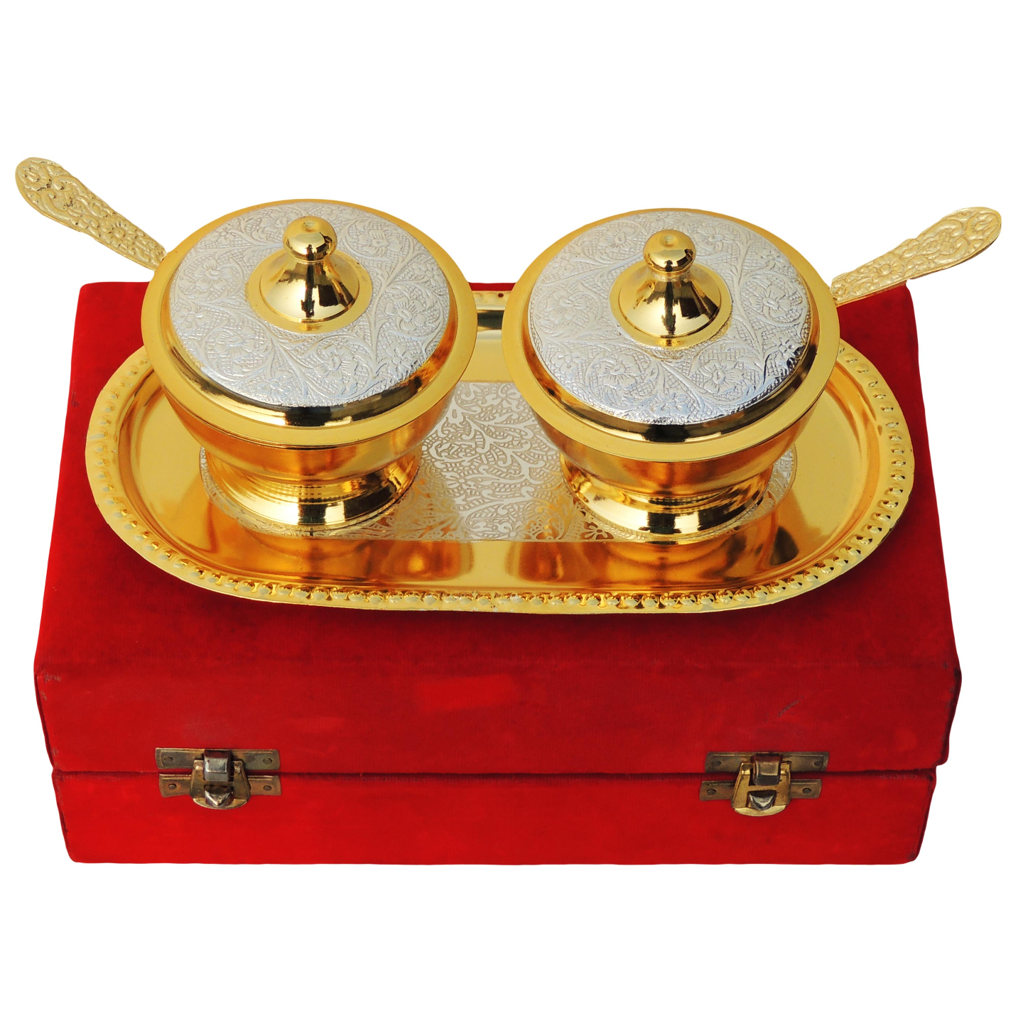 Brass Supari Set With Spoon In 2 Tone Finish - 4 Inch (B027)