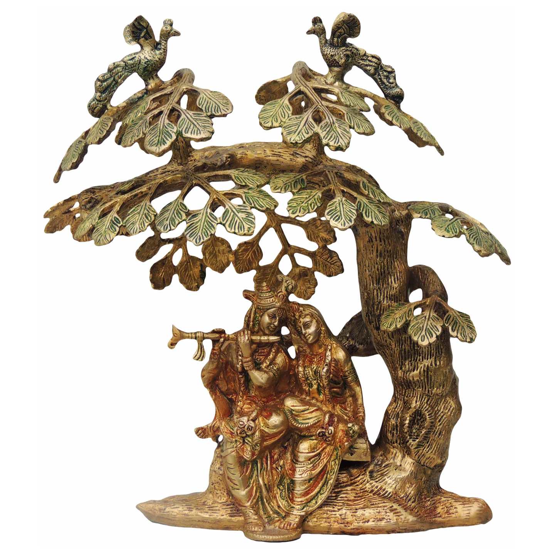 Brass Radha Krishna Under Tree Staute Idol Murti in Multicolour lacquer finish- 14*9.5*14 Inch  (BS482)