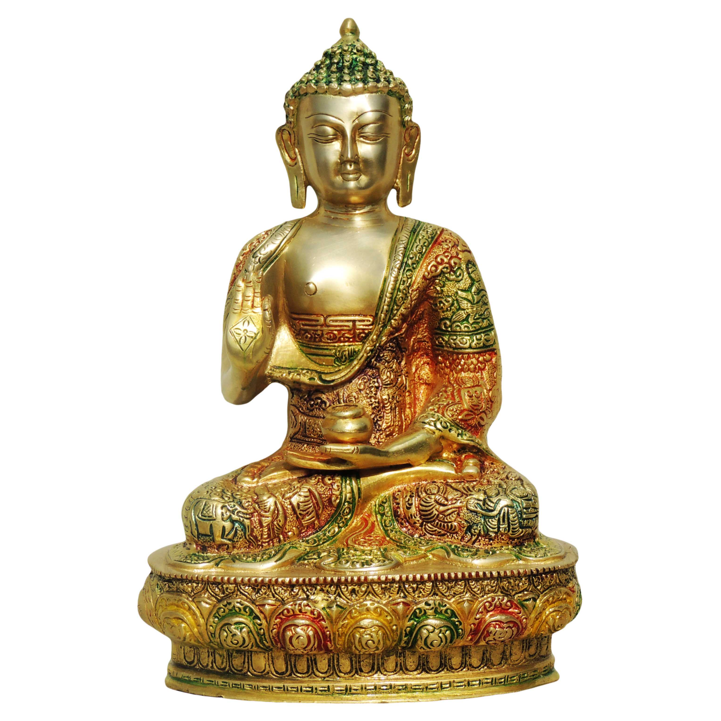 Brass Buddha Statue Murti Idol In Multicolour Lacquer Finish - 8.4*5*12.5 Inch  (BS660 B)