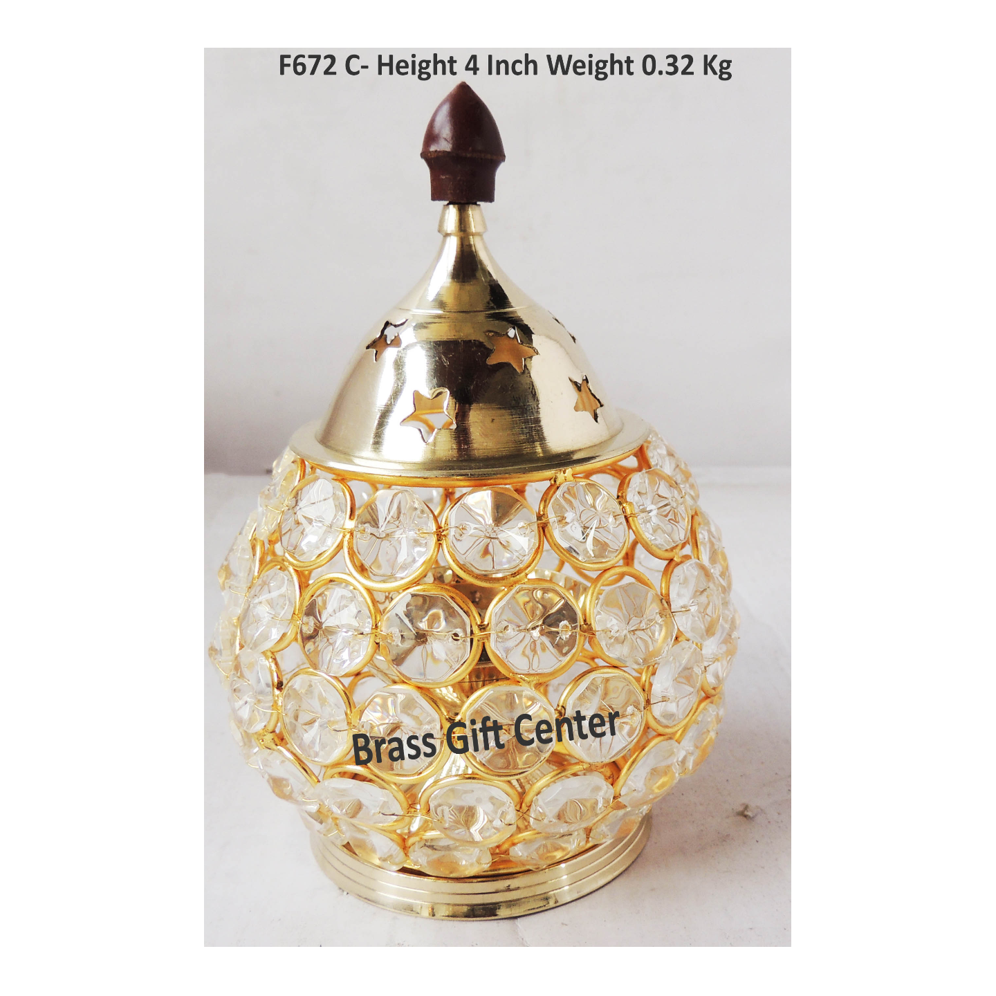 Brass Oil Lamp Deepak With Crystal Beads Height 6.2 Inch (F672 C)
