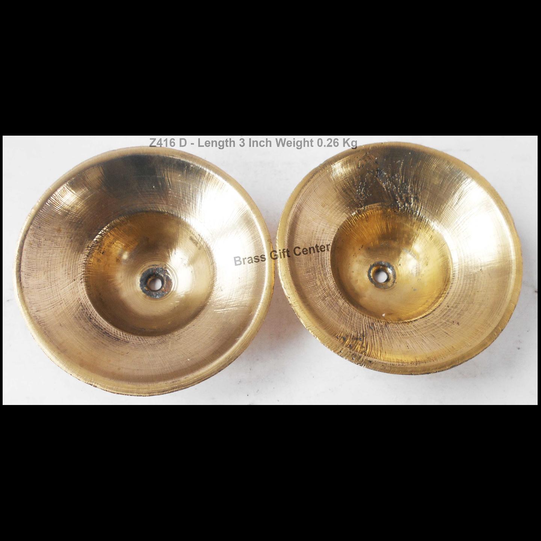 Brass Manjira With Brass Finish Length 3 Inch (Z416 D)