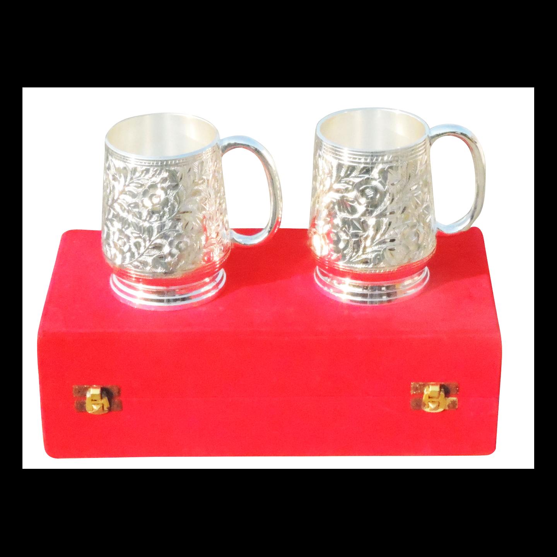 Brass Bear Mug Set With  Silver Finish - 4.5 Inch (B019)