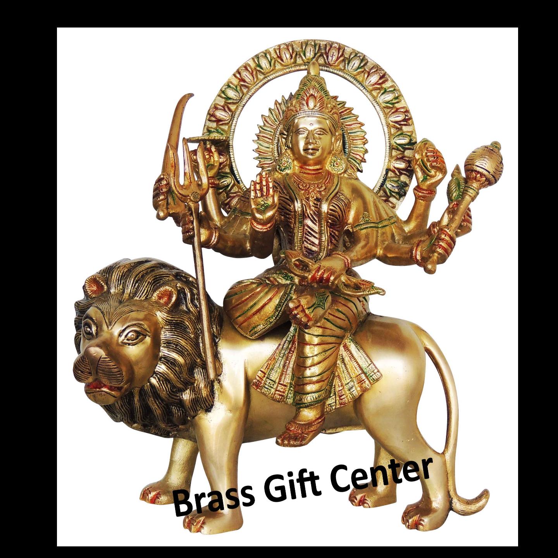 Brass Durga Murti Statue idol with Multicolour Lacquer finish - 11413 inch  BS418