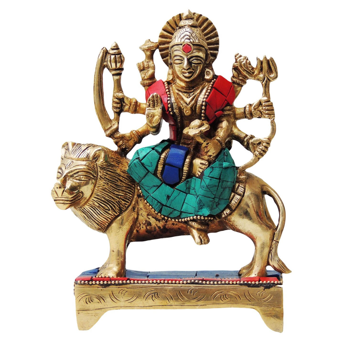 Brass Durga Murti Statue idol with Turquoise Coral stone  work - 2*4*6.5 inch  (BS438 B)