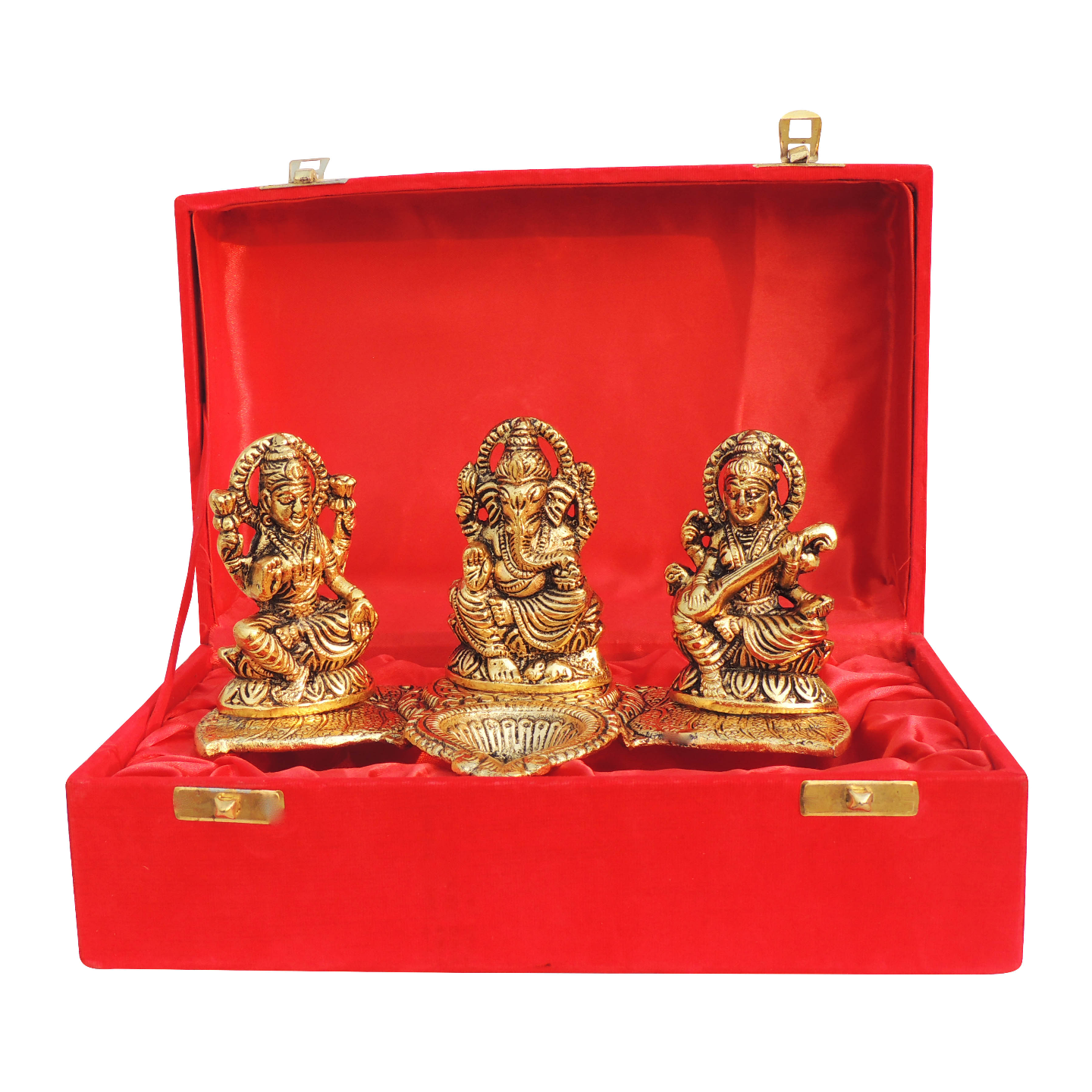 Showpiece Laxmi Ganesh Saraswati With Attached Deepak In Golden - 4 Inch (AS376 G)