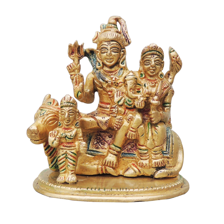 Brass Shiv parivaar  Statue Murti Idol in Mulitcolour Lacquer  finish- 3.5x2.5x4 Inch  (BS975 C)