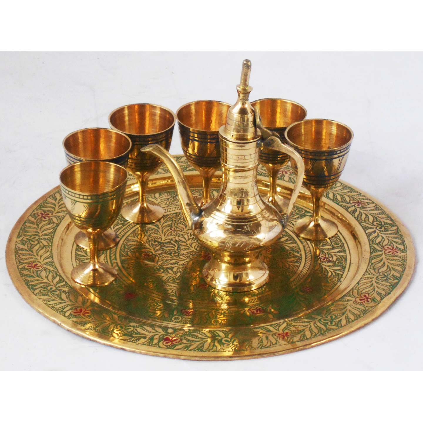 Brass Wine Set With Six Glass One Surahi MIniature Toy for Children Playing Z346 C