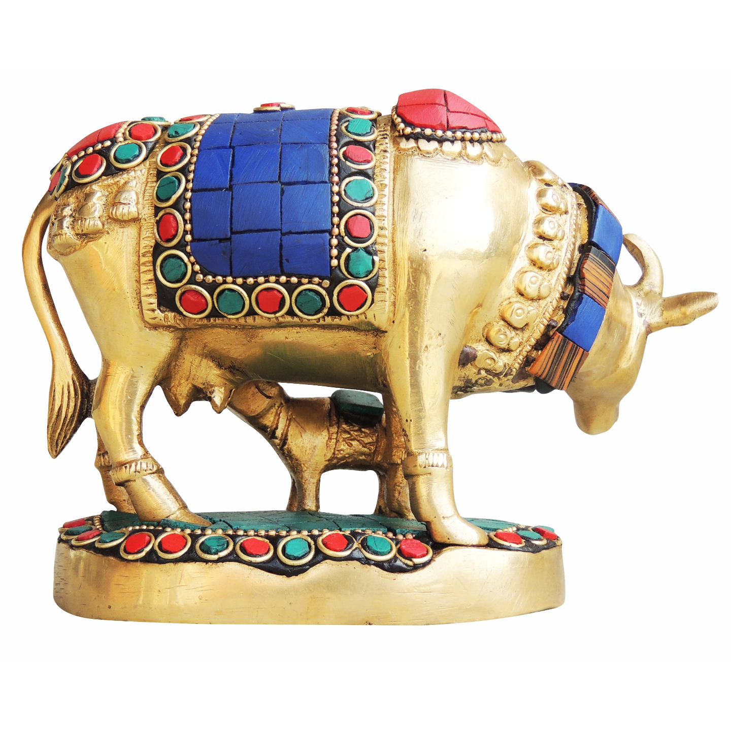 Brass Cow With Calf Gaye Bacdha with Turquoise Coral stone work- 5.5*2.5*4 Inch  (BS982 A)