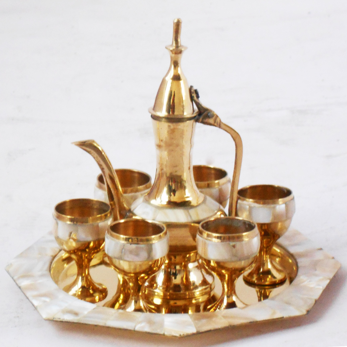 Brass Wine Set With Seep Work 6 Glass 1 Surahi 1 Tray Miniature Toy For Children Playing (Z363 C)