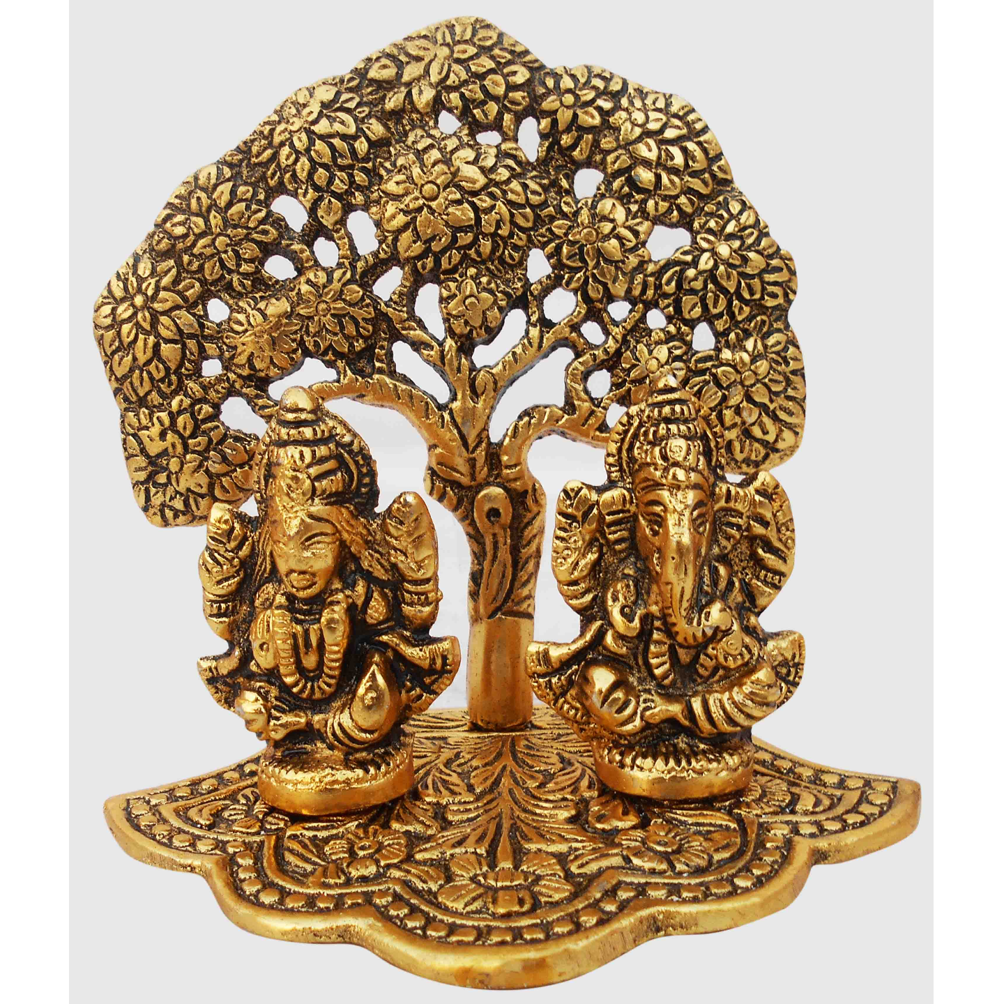 Aluminium Ganesh Laxmi In Gold Antique Finish - 4.93.34.7 Inch AS345 G