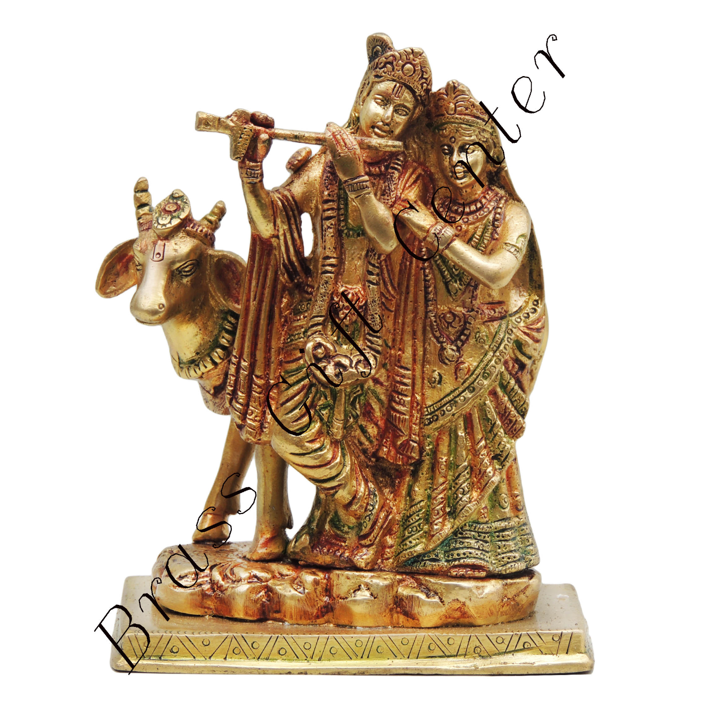 Brass Radha Krishna with Cow Staute Idol Murti in Multicolour lacquer finish - 5.547.5Inch  BS400