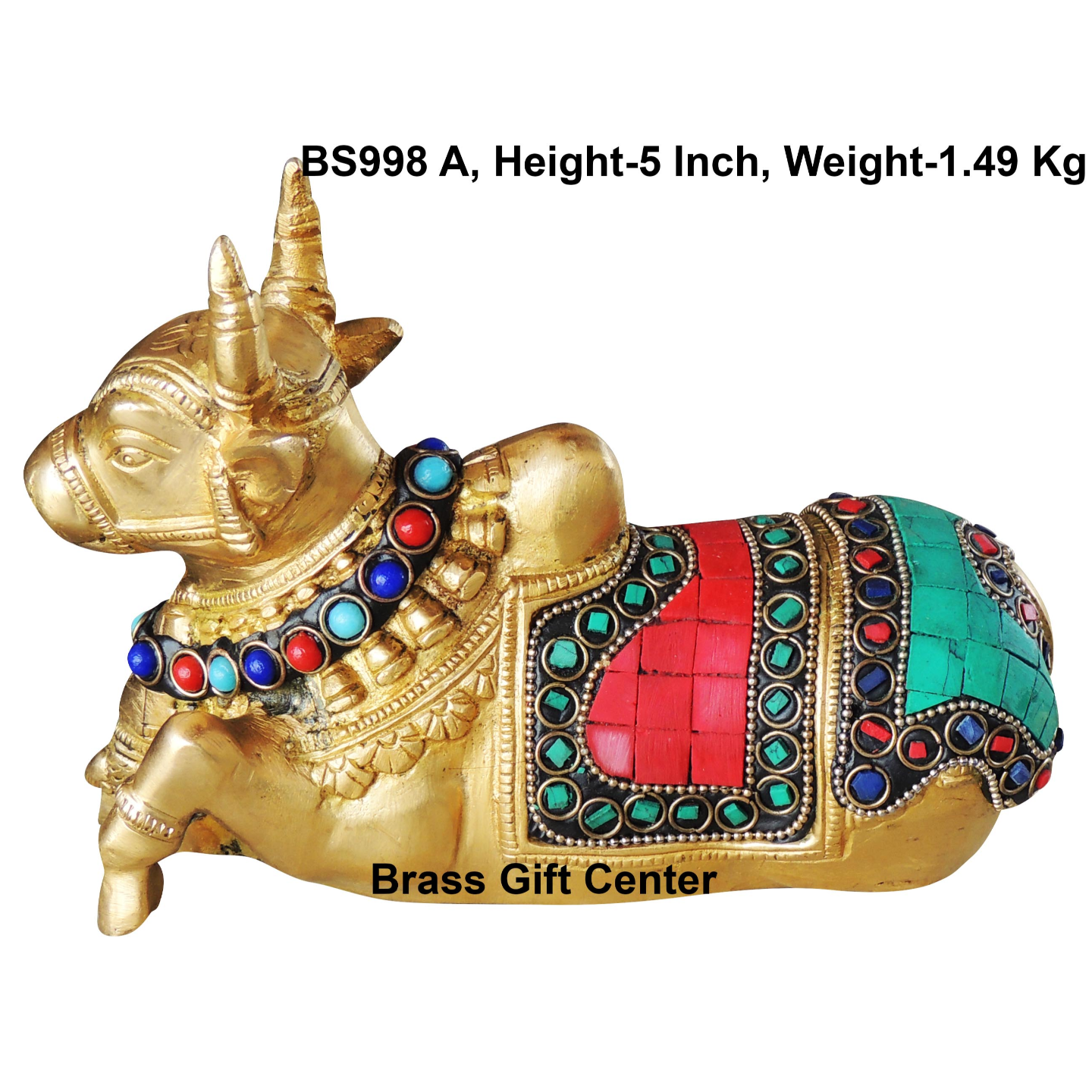 Pure Brass Nandi With Turquoise Coral Stone work
