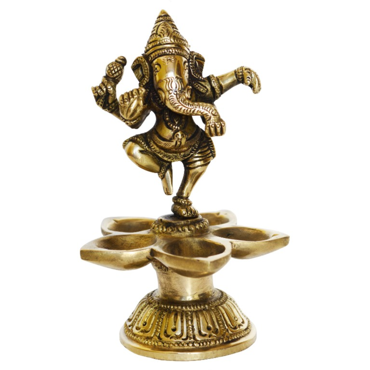 Lord Ganesha Dancing Statue On Deepak Made of Brass - 6 Inch (BS1192 A)