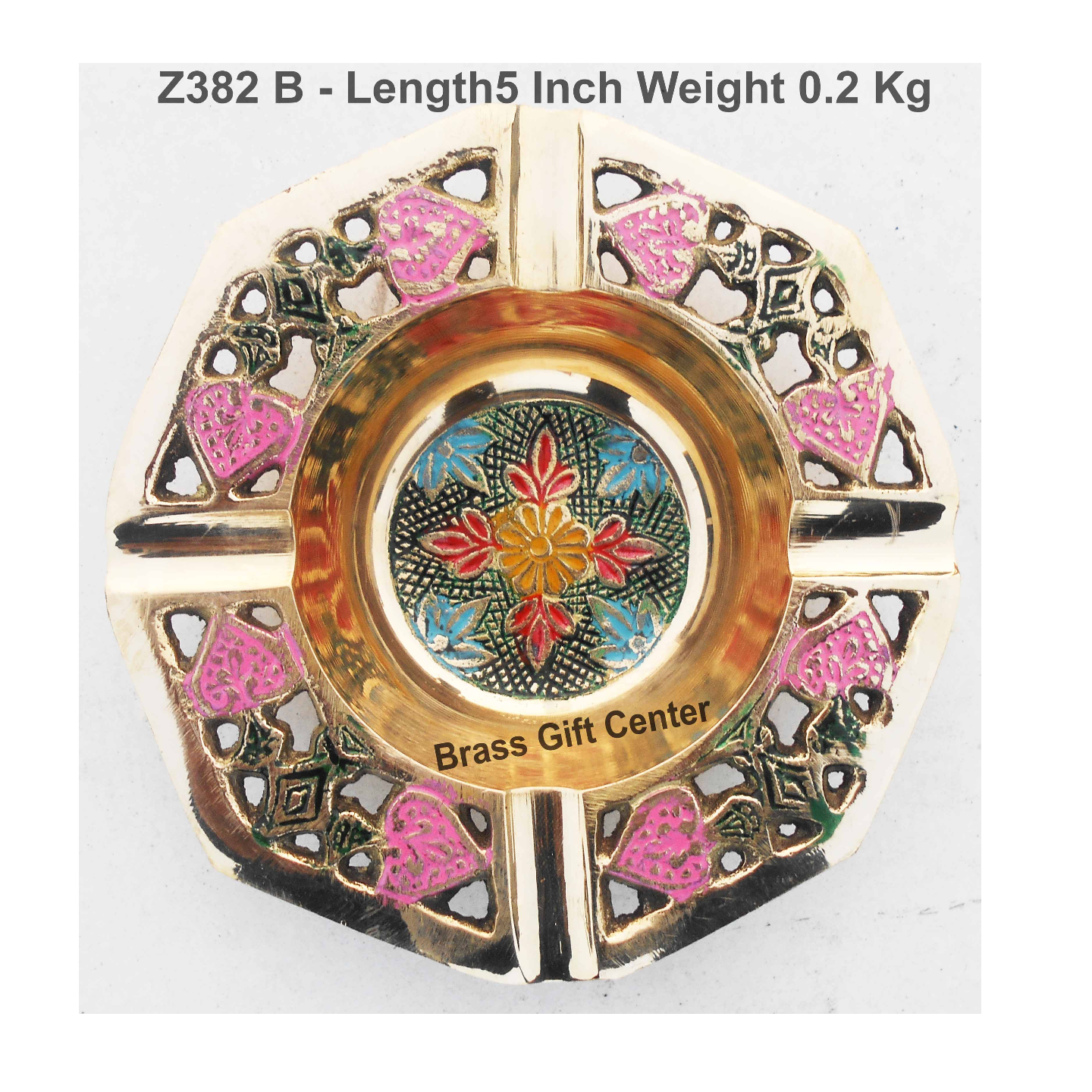 Brass Ash Tray With Multicloured Finsih -  5 Inch (Z382 B)