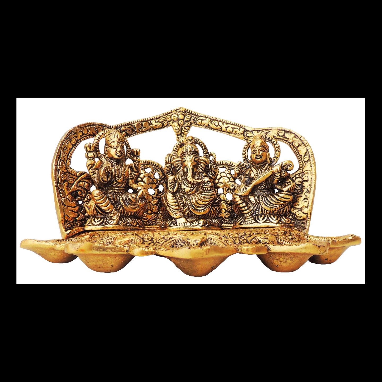 Showpiece Laxmi Ganesh Saraswati With Attached 5 Deepak In Gold Finish - 5 Inch (AS378 G)