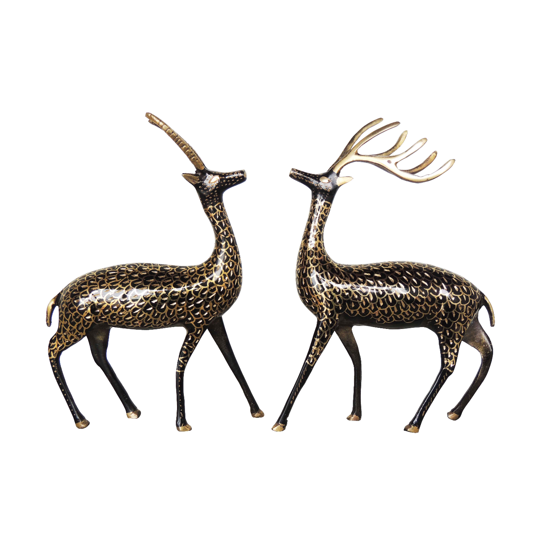 Brass Showpiece Deer Pair Statue With Black Finish, Height 9 Inch AN213 B