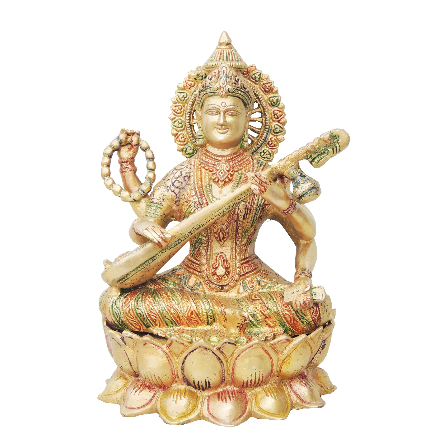 Brass Saraswati Idol Murti Multicolour lacquer finish - 7.8*6.5*11 inch  (BS034)