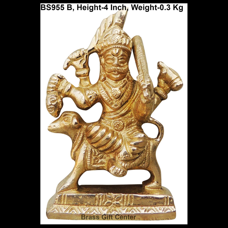 Brass Showpiece Bhairav Baba Ji Statue With Brass Finish Height - 4 Inch