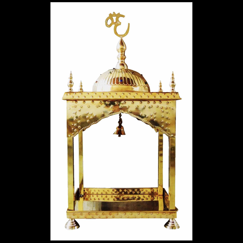 Brass Temple Mandir round Dom - 21.5x21.5x28 inch (F311 B)