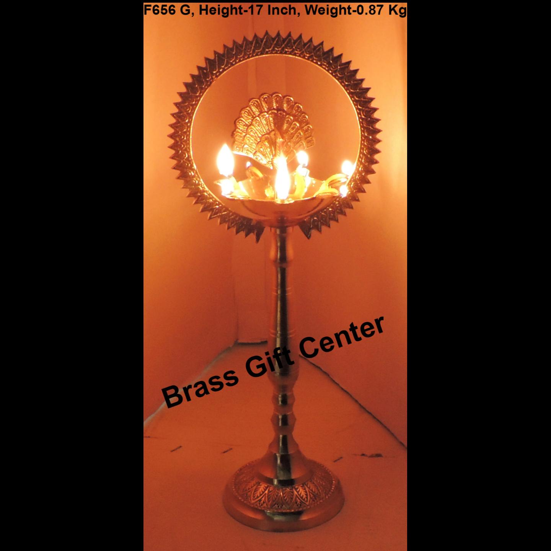 Brass Table Decor Oil Lamp Deepak With Brass Finish - Height 51 cm