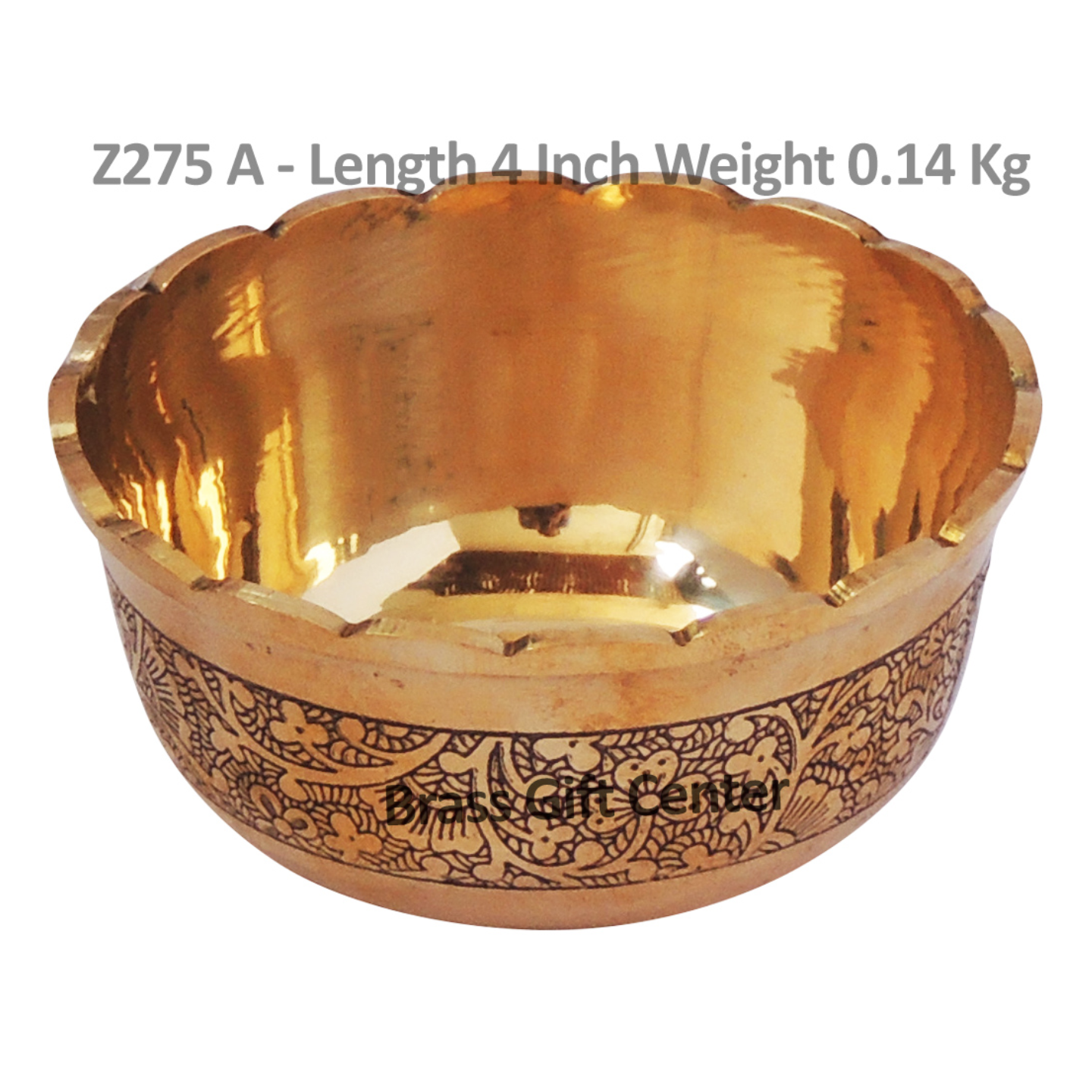 Brass Bowl Katori Flower Design - 4*4*2 Inch  (Z275 A)
