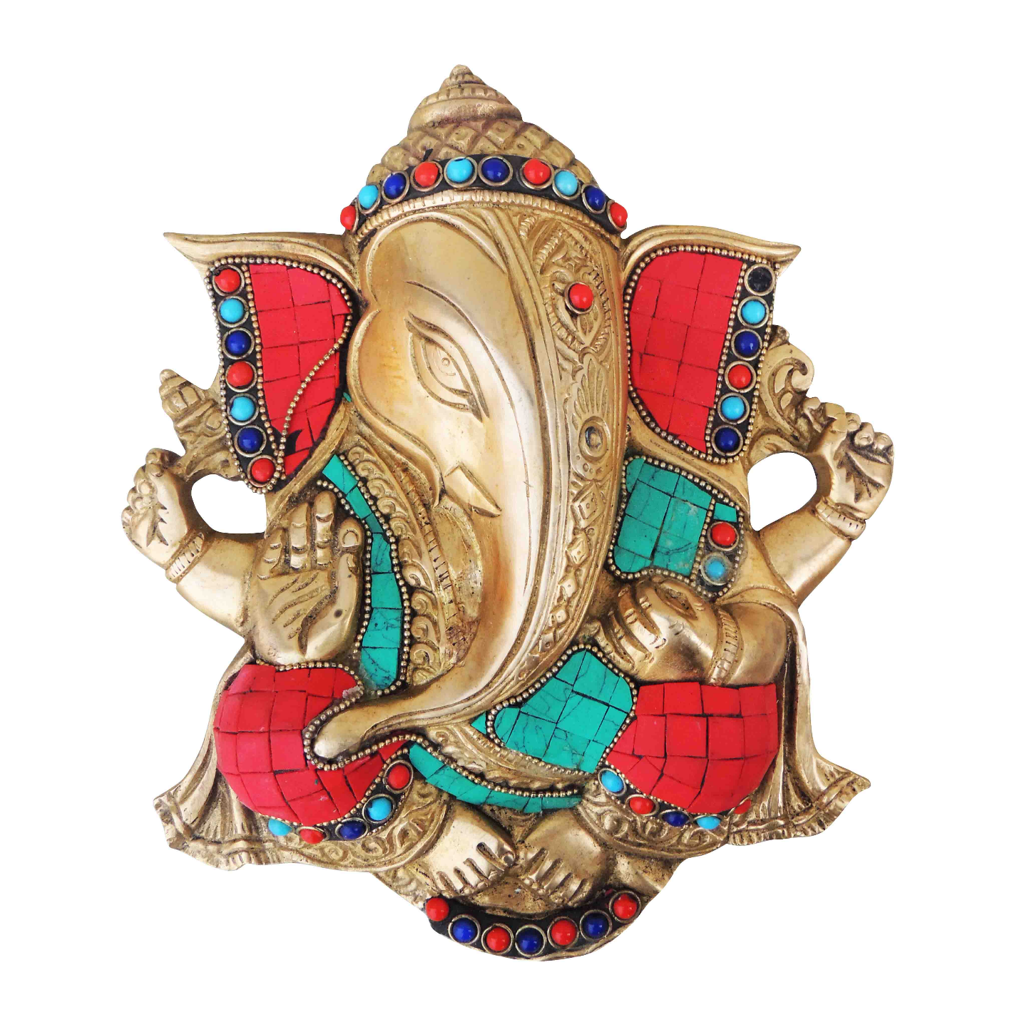 Brass Wall Hanging Showpiece Ganesh With Stone Finish - 8.8 Inch (BS794 B)