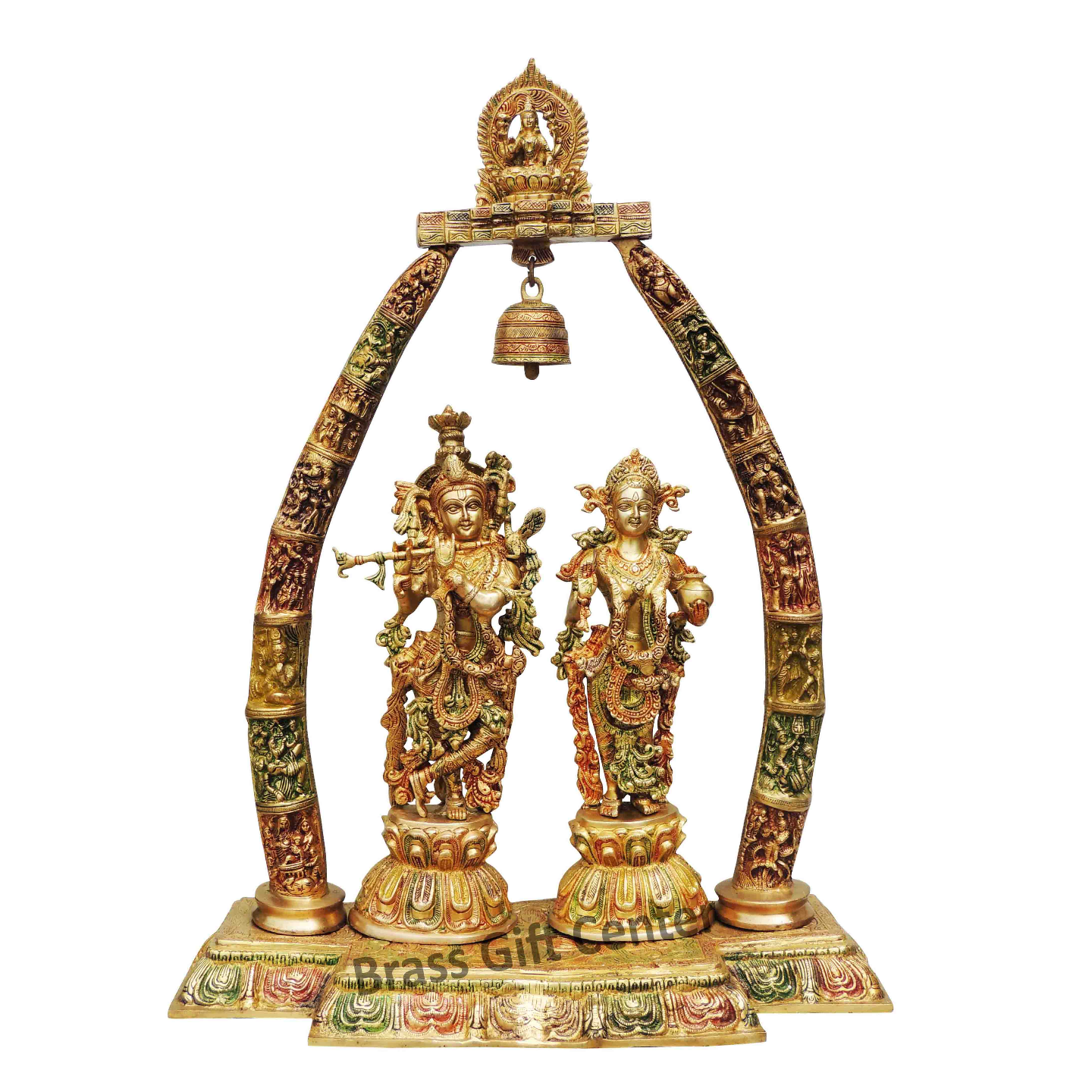 Brass Radha Krishna Dharbar In Multicolour lacquer Finish - 24.5*9.8*31.7 Inch  (BS301 B)