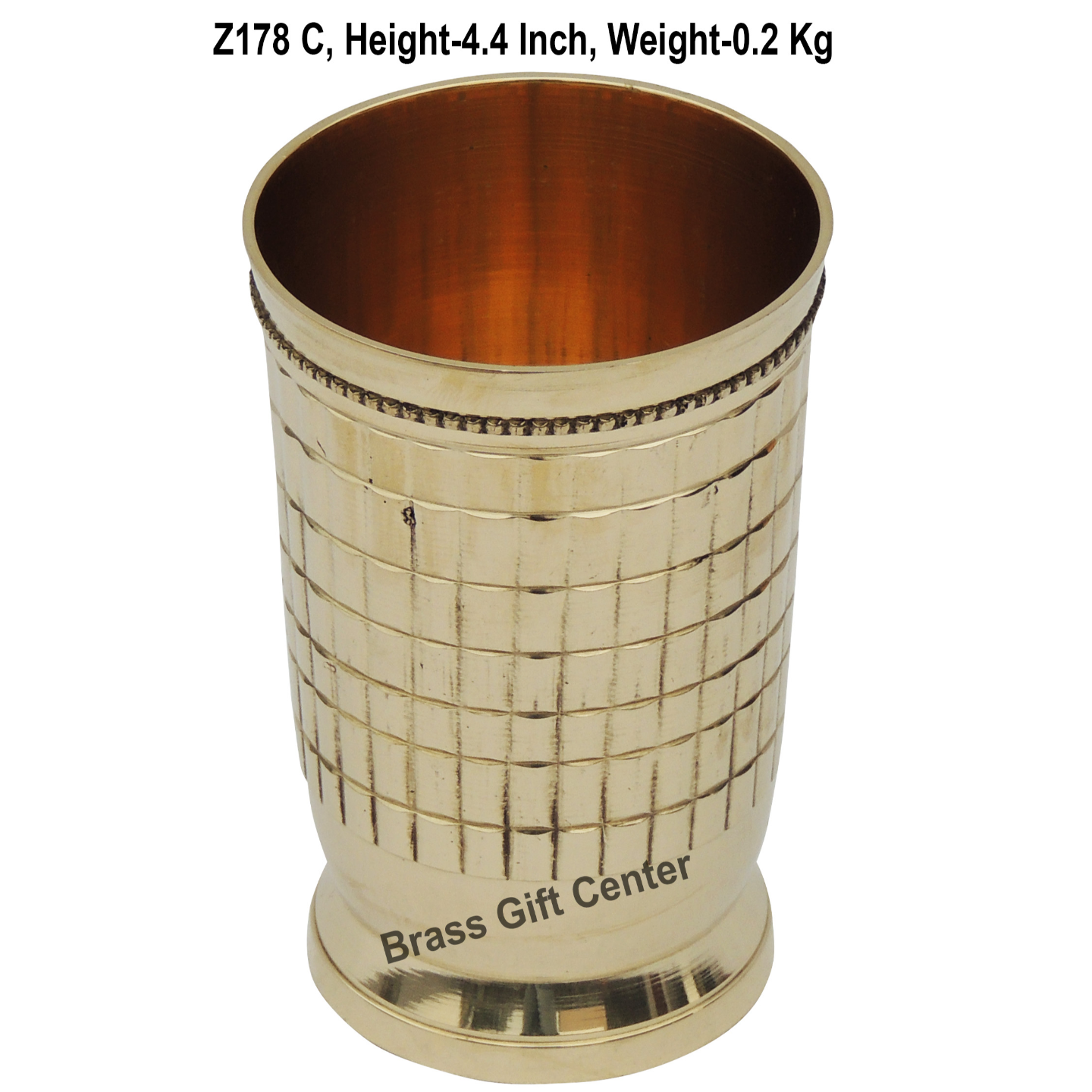 Brass Glass Firki 250 Ml -  2.8*2.8*4.4 Inch  (Z178 C)
