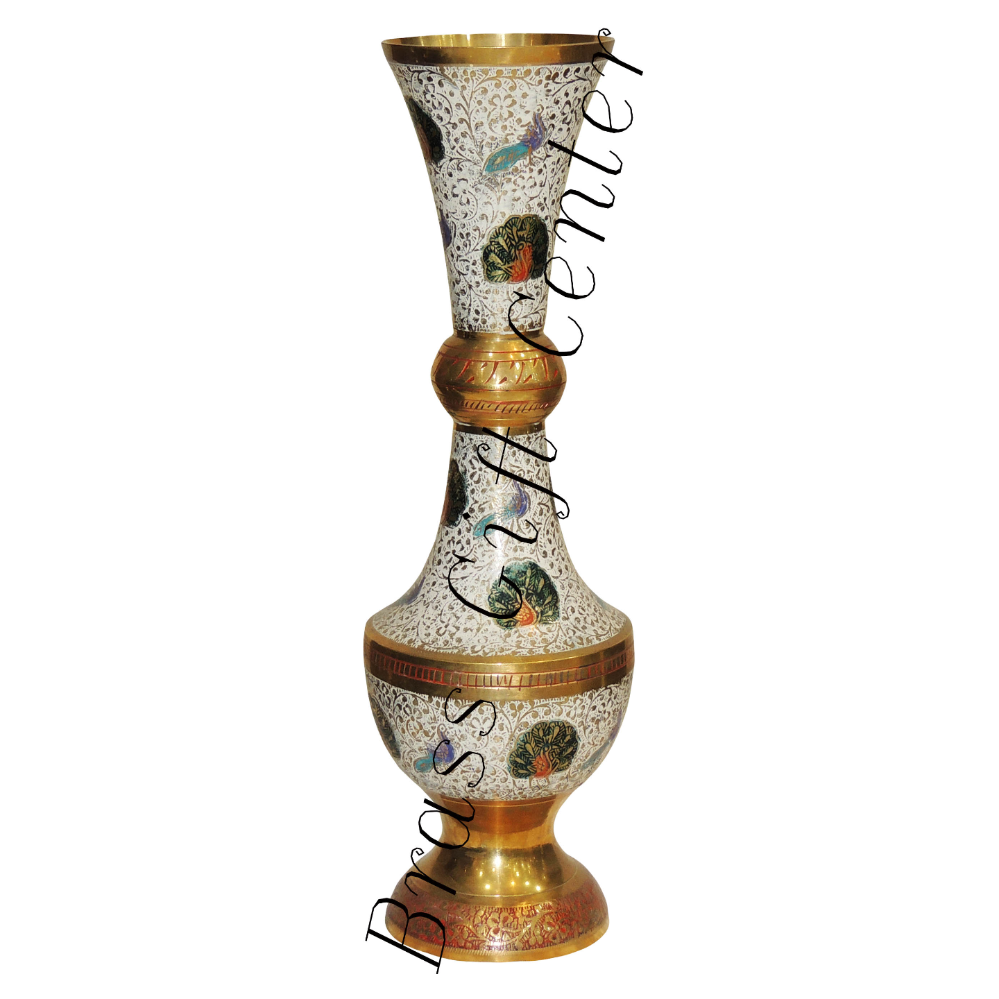 Brass Coloured Flower Vase with handwork - 5514Inch  F186
