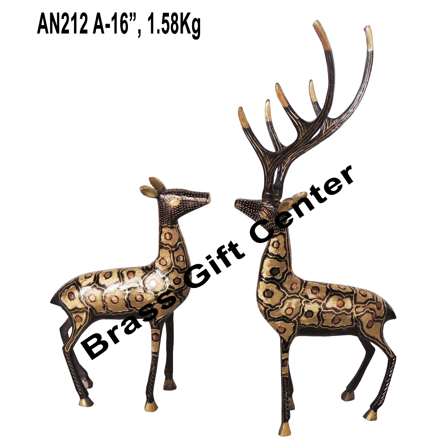Brass Showpiece Deer Pair Statue With Black Finish, Height 16 Inch AN212 A