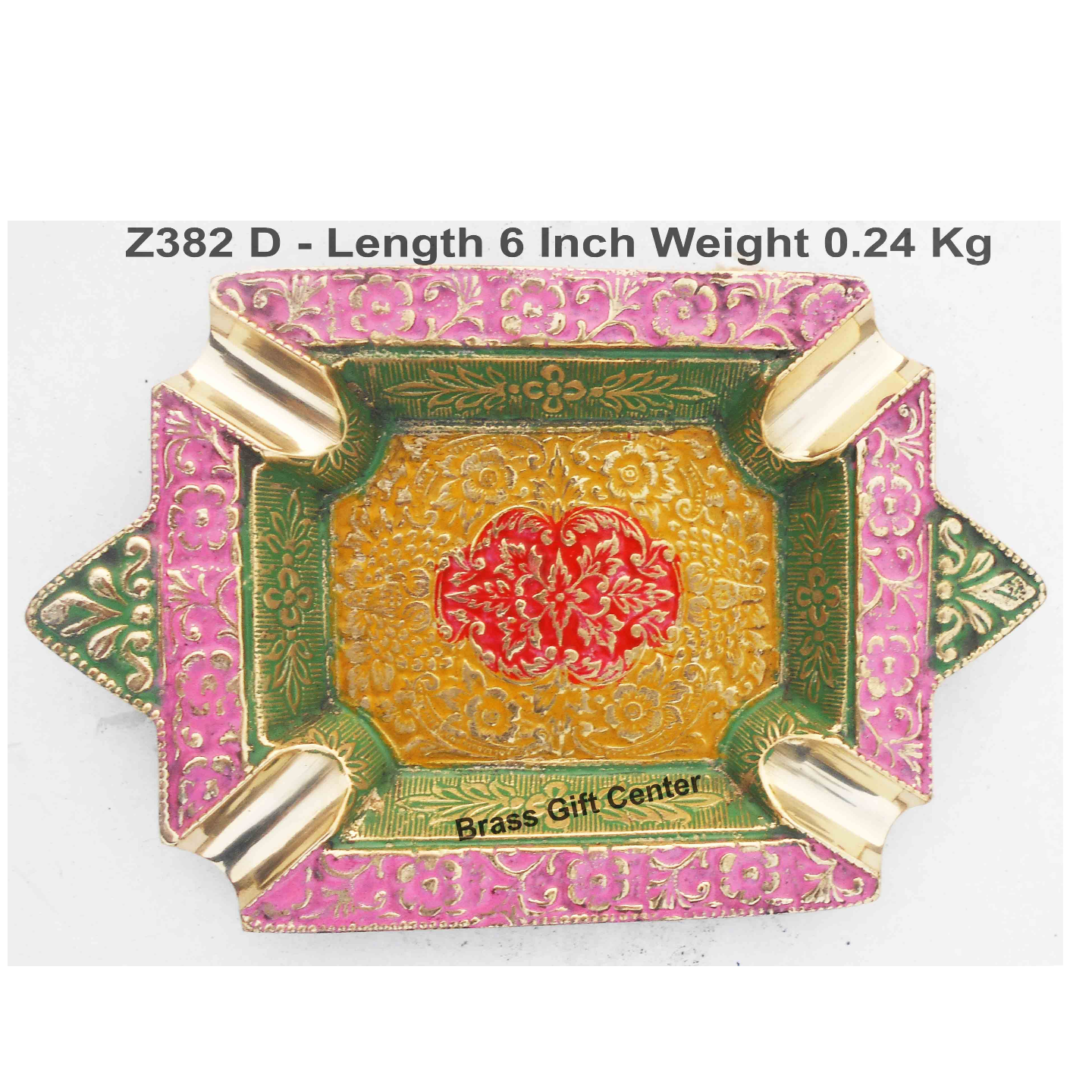 Brass Ash Tray With Multicloured Finsih -  6 Inch (Z382 D)