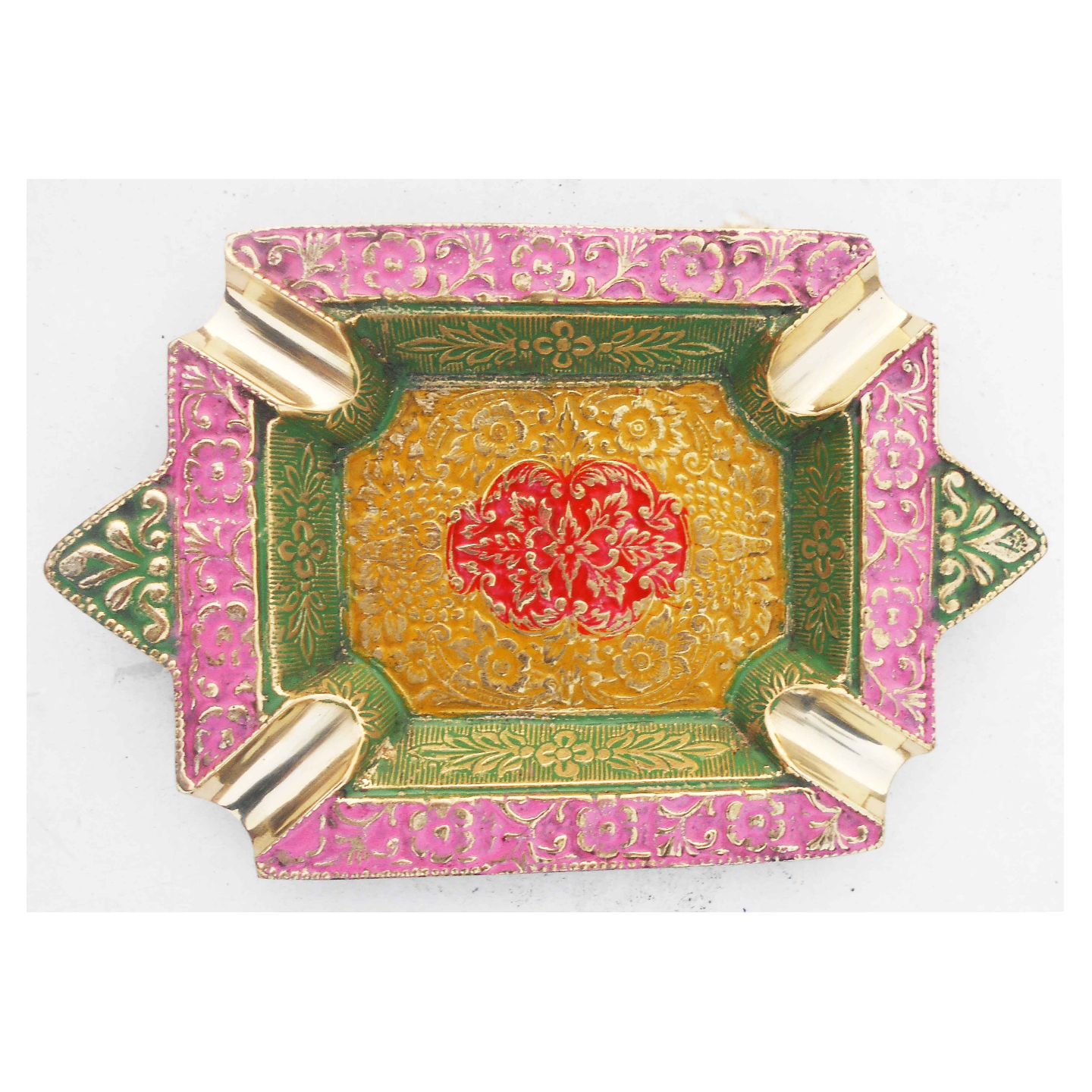 Brass Ash Tray With Multicloured Finsih -  6 Inch Z382 D